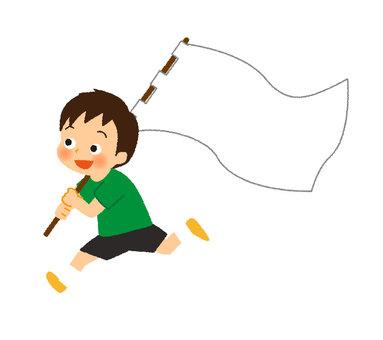 Boy holding a flag