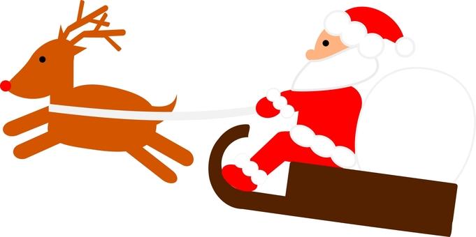 Santa and reindeer on a sled