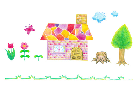Colored pencil house and plant