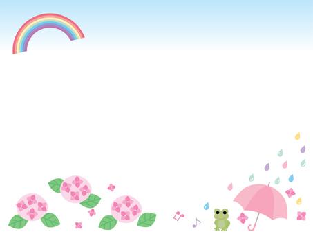 수국과 무지개 우산과 개구리 프레임 01 핑크