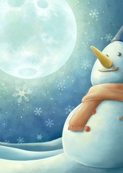 Snowman and Christmas night