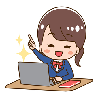High school girl target pose using a computer