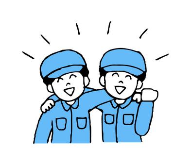 어깨동무 작업복 차림의 남성 2 명 (단순)