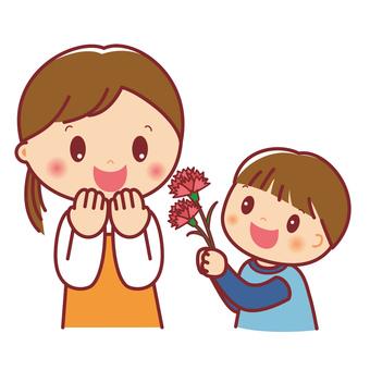 Boy giving carnation