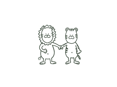 A cute hand holding a friend Tiger and a line drawing of a lion