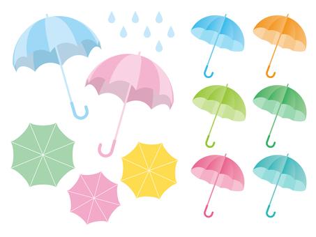 Illustration set of an umbrella