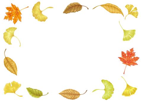 Fallen leaves frame vector horizontal version