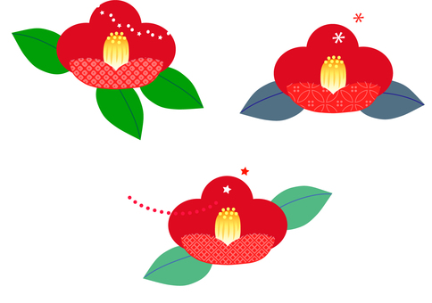 Three illustration of camellia