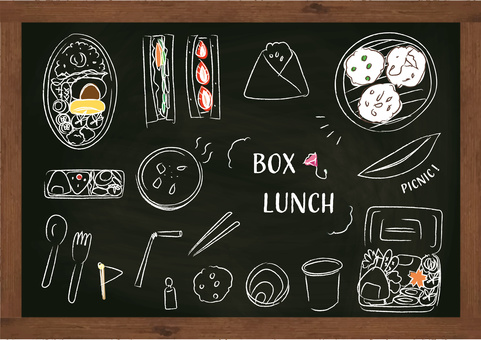 Lunch box Picnic lunch chalk blackboard