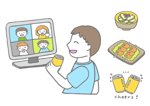 Online drinking party illustration 2