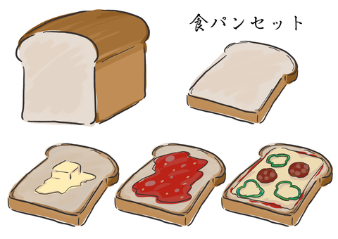 White bread toast set