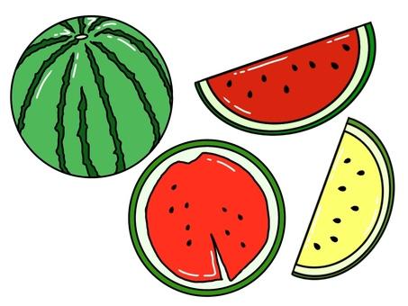 Watermelon set (black frame · glossy / single color)