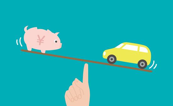 汽車和金錢的平衡圖像