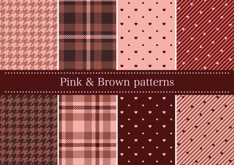핑크 & 브라운 계열 패턴 세트