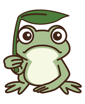 Frog with leaf as umbrella