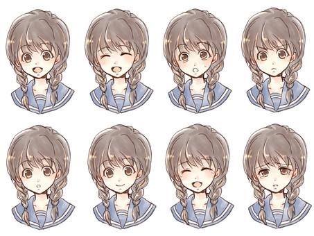 Mitsuami Girl Facial Expression Set