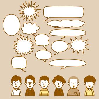Various men and speech bubbles