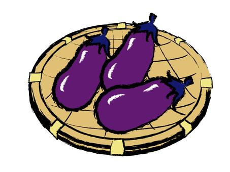 Handwritten Japanese-style material Summer vegetable eggplant