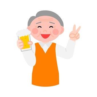 Senior men drinking peel