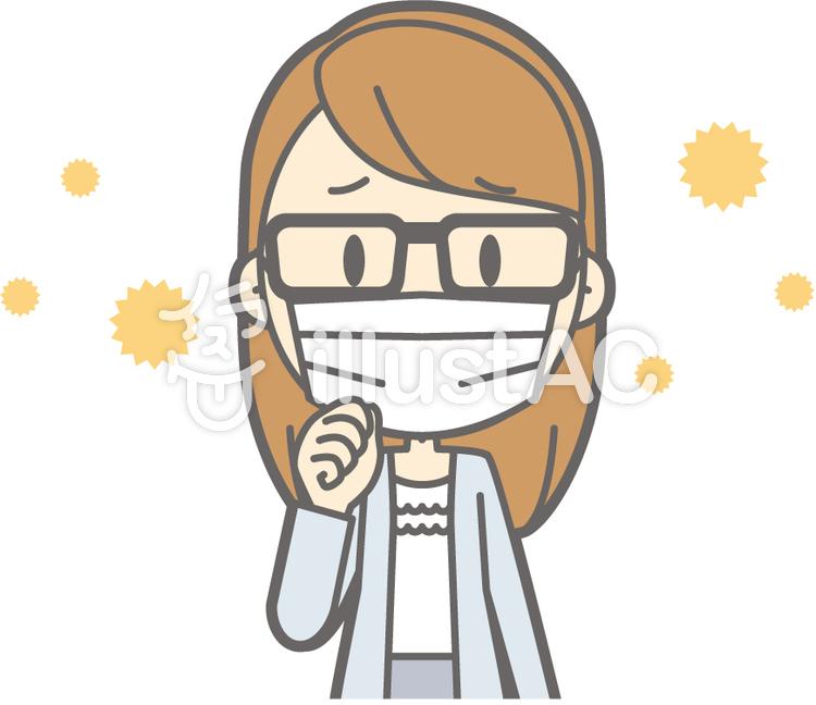 女子大生a-花粉症-バストのイラスト