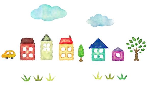 青空と家と草原の水彩の罫線