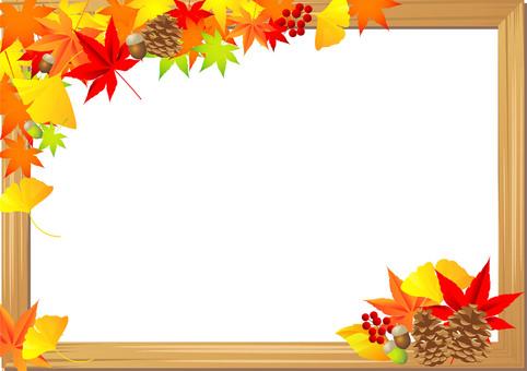 秋の紅葉植物フレーム04