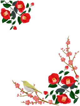Frame of strawberry and plum blossom and 2