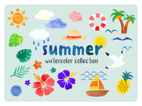 Watercolor illustration of summer and tropical country