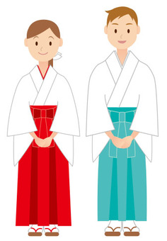 Shinto priestess and white shrine maiden