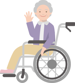 Elderly people riding in wheelchairs -2