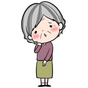 Embarrassed face grandma