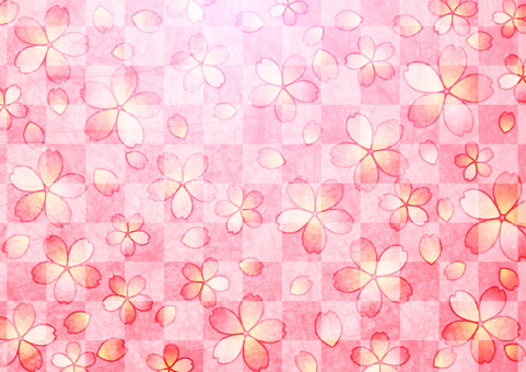 Japanese paper watercolor style checkered pattern and cherry blossom background