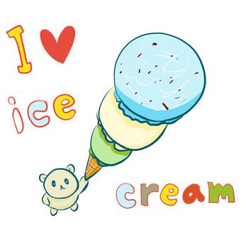 Kuma with ice cream (with text)