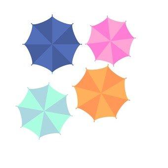 위에서 본 우산 (복수)