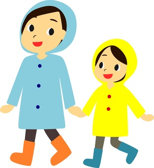 Parent and child wearing a raincoat