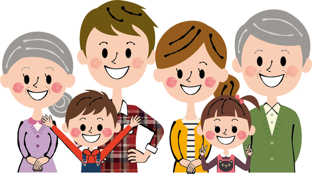 Heartwarming six people ideal family family three long-sleeved upper body