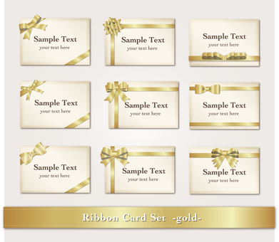 Card set with ribbon (gold)