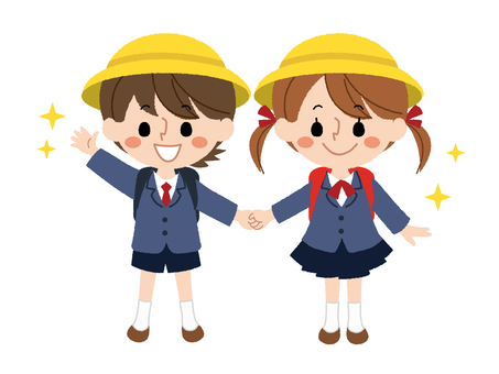 Male and female elementary school students of entrance ceremony 2
