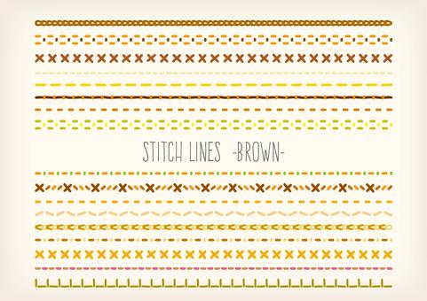 刺繍・ステッチ ラインセット ブラウン