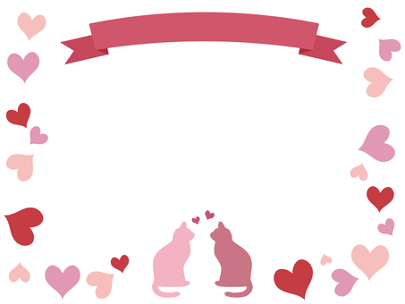 Ribbon and cat frame Heart pink