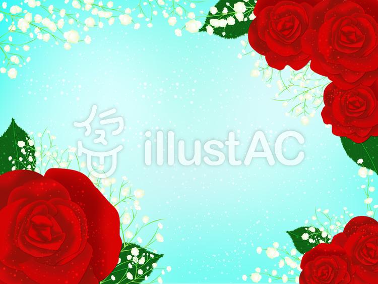 赤い薔薇とカスミソウイラスト No 1239717無料イラストなら