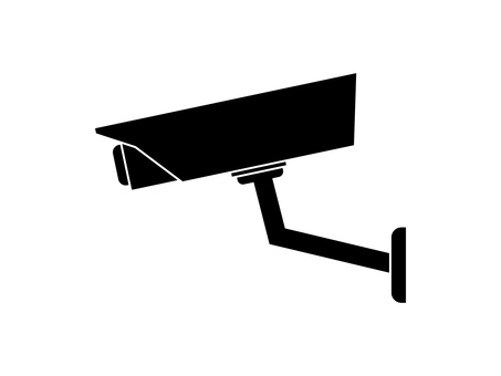 Black and white icons of security cameras and surveillance cameras