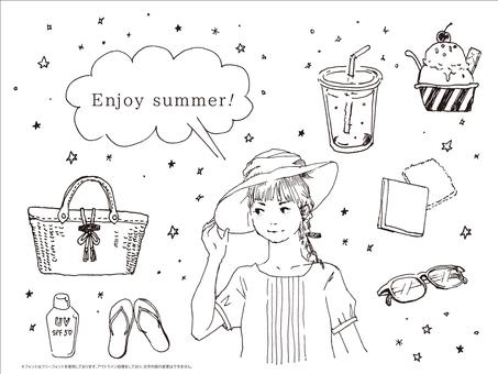 Black and white summer girl