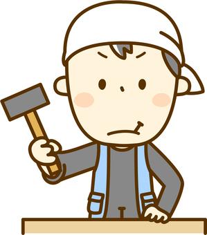 Carpenter who hits nails