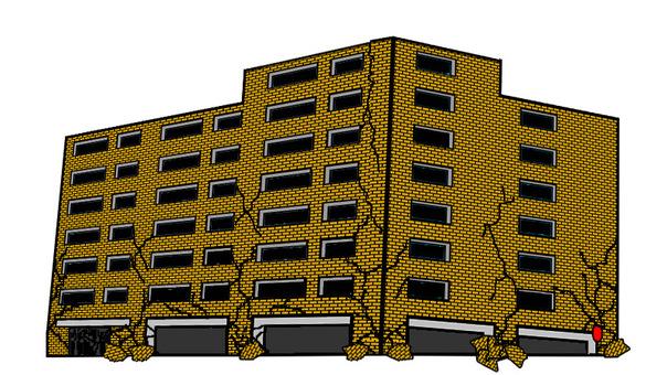 Apartment earthquake damage