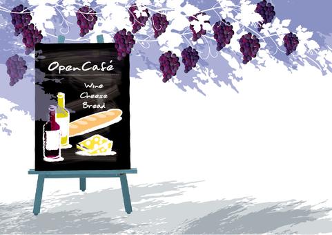 카페 일러스트 포도와 와인 2