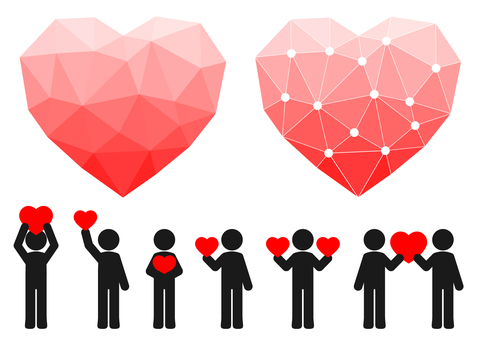 People with heart-shaped polygons and hearts