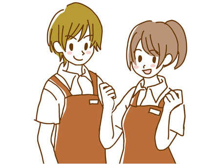 Apron clerk man and woman