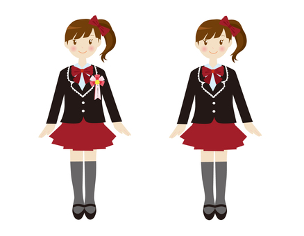 Formal girl red ribbon suit