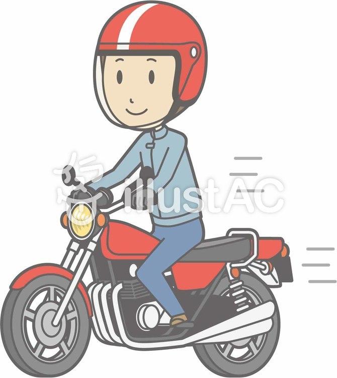 バイク-オートバイ乗る-全身のイラスト